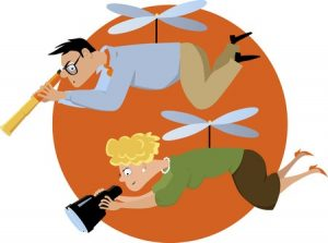 48068174 - overprotective helicopter parents hovering with a telescope and a binoculars, eps 8 vector illustration